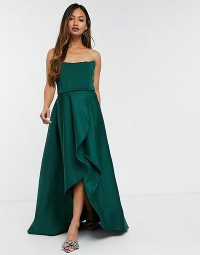 Verde donna Abito per ballo di fine anno verde bosco midi asimmetrico con corsetto - Esclusiva True Violet