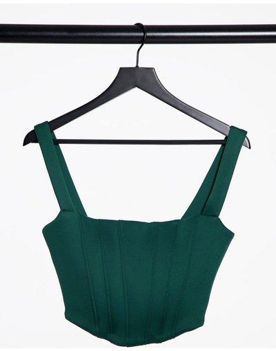 Verde donna Corsetto con dettaglio a punta, colore verde bosco - Esclusiva True Violet