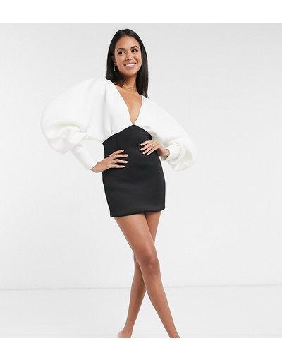 Multicolore donna Vestito corto scollo profondo monocromatico con maniche a palloncino - Esclusiva True Violet - Multicolore