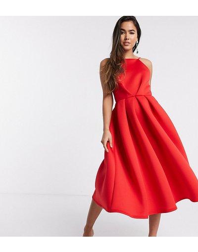 Rosso donna Vestito da prom midi rosso con schiena scoperta - Esclusiva True Violet