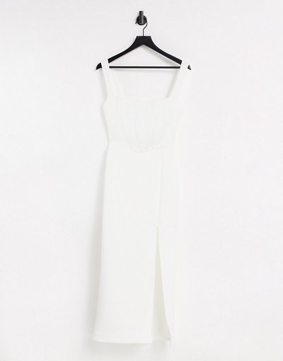 Crema donna Vestito fasciante color avorio con gonna al polpaccio scollo quadrato e spacco - Esclusiva True Violet - Crema
