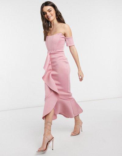 Rosa donna Vestito midi a corsetto con scollo Bardot e gonna a sirena con volant cipria inverno - Esclusiva True Violet - Rosa