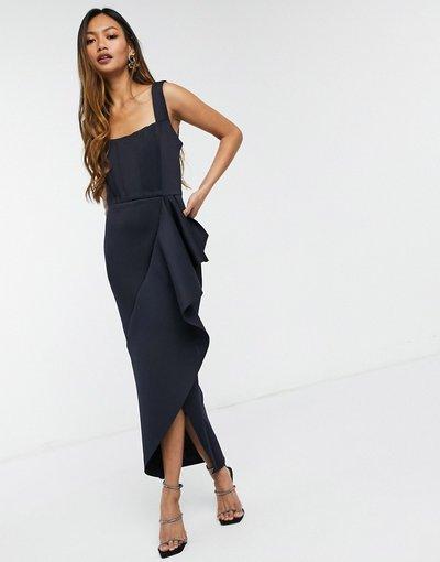 Blu navy donna Vestito midi a punta a fascia con volant blu navy - Esclusiva True Violet