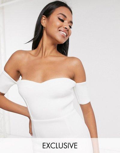 Bianco donna Vestito midi avorio con scollo alla Bardot a cuore e peplo - Esclusiva True Violet - Bianco