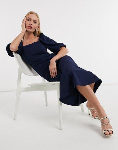 Blu navy donna Vestito midi blu navy con scollo quadrato e maniche a sbuffo - Esclusiva True Violet
