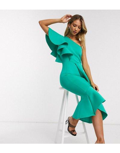 Verde donna Vestito midi con volant monospalla acqua - Esclusiva True Violet - Verde