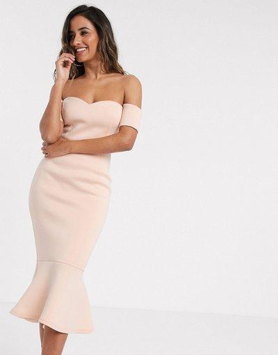Rosa donna Vestito midi rosa cipria con scollo alla Bardot a cuore e peplo - Esclusiva True Violet