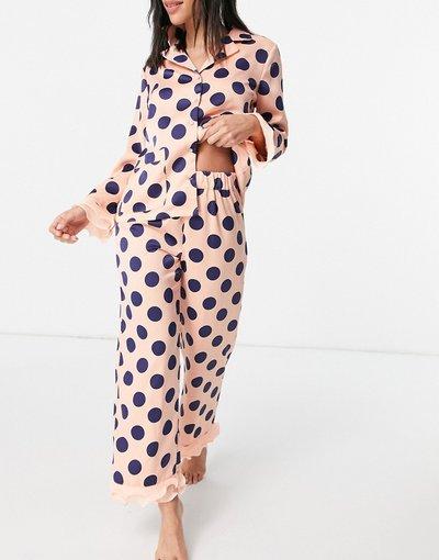 Pigiami Multicolore donna Pigiama con camicia e pantaloni rosa e blu navy a pois con finiture in organza - Esclusiva Y.A.S - Multicolore