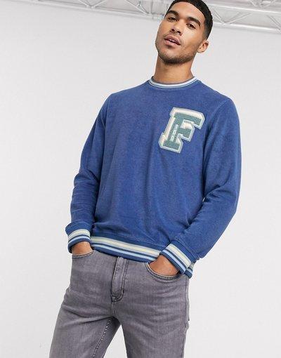 Felpa Navy uomo Felpa in spugna blu navy con logo - Alameda - Farah