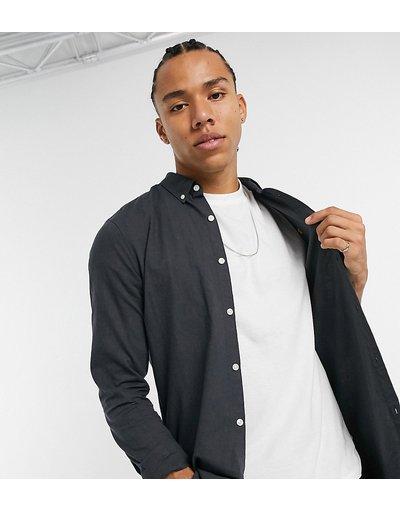 Camicia Grigio uomo Camicia Oxford slim grigio scuro con logo - Brewer - Farah