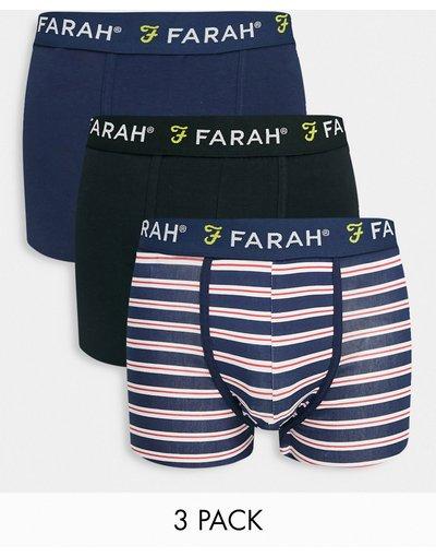 Intimo Blu navy uomo Confezione da 3 boxer blu navy - Farah