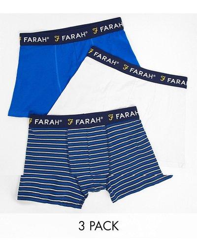 Intimo Multicolore uomo Confezione da 3 boxer blu navy, bianco tinta unita e a righe - Multicolore - Farah - Hove