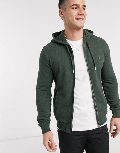 Felpa Verde uomo Felpa con zip e cappuccio - Farah - Kyle - Verde