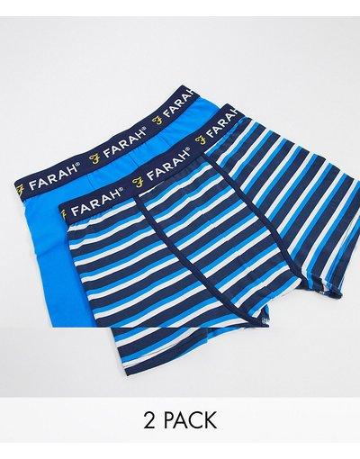 Calze Multicolore uomo Confezione da 2 boxer blu tinta unita e a righe - Multicolore - Farah - Raby