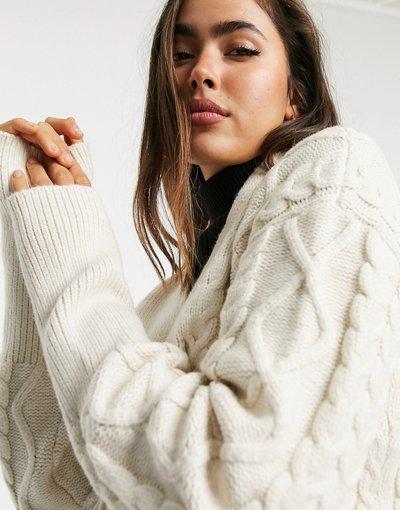 Crema donna Cardigan aderente allacciato in vita in maglia testurizzata - Fashion Union - Crema
