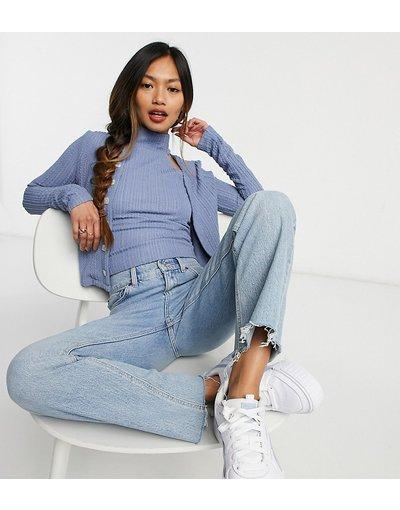 Maglione cardigan Blu donna Cardigan aderente in jersey testurizzato con bottoni in coordinato - Fashion Union - Blu