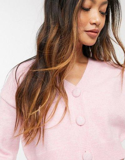 Rosa donna Cardigan corto in maglia soffice in coordinato - Fashion Union - Rosa