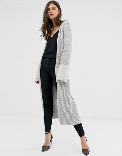 Grigio donna Cardigan lungo con maniche a contrasto - Fashion Union - Grigio