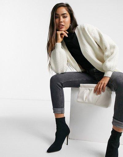 Crema donna Cardigan vestibilità comoda a trecce - Fashion Union - Crema