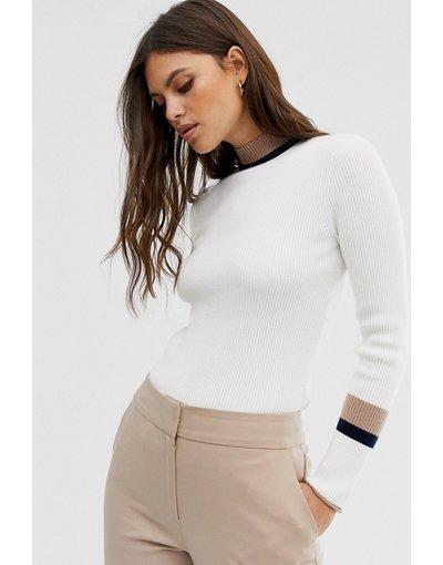 Bianco donna Maglione accollato con righe a contrasto - Fashion Union - Bianco