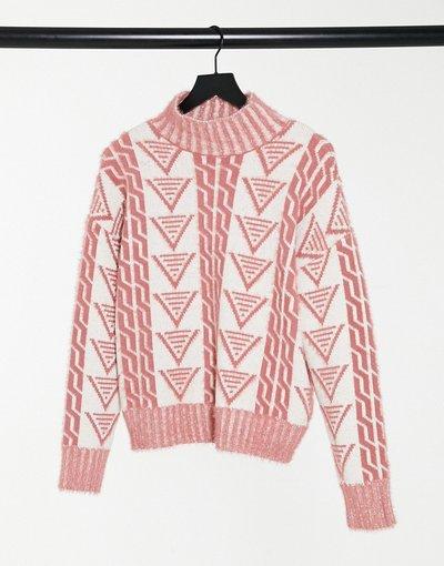 Crema donna Maglione comodo in maglia a triangoli - Fashion Union - Crema