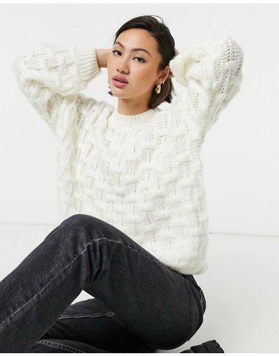 Crema donna Maglione comodo in maglia spessa a quadri - Fashion Union - Crema