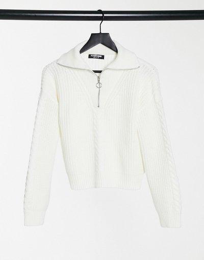 Crema donna Maglione con zip corta in maglia a trecce - Fashion Union - Crema