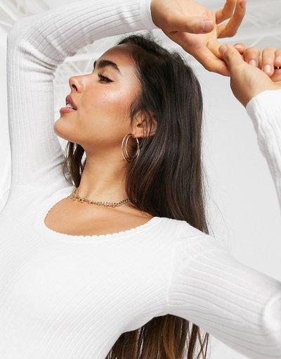 Crema donna Maglione in maglia leggera con scollo rotondo - Fashion Union - Crema