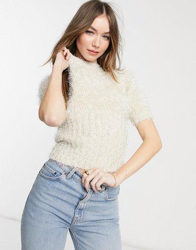 Giallo donna Maglione soffice a maniche corte in maglia metallica - Fashion Union - Giallo