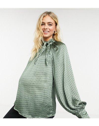 Maternita Verde donna Blusa comoda a pois con maniche a sbuffo e fiocco - Fashion Union Maternity - Verde