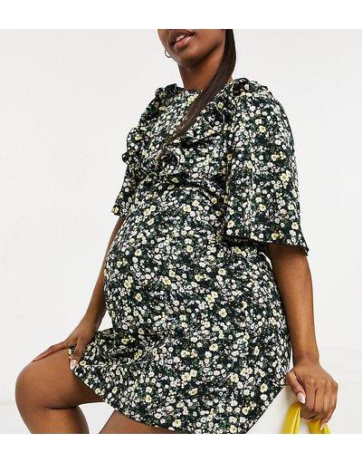 Maternita Nero donna Vestito corto con maniche con volant e stampa a fiorellini - Fashion Union Maternity - Nero