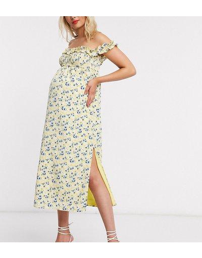 Giallo donna Vestito lungo con scollo Bardot e spacco a fiori - Fashion Union Maternity - Giallo