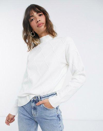 Crema donna Maglione comodo lavorato a maglia diamante in coordinato - Fashion Union Plus - Crema