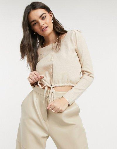 Beige donna Top in maglia con bottoni sul davanti in coordinato - Fashion Union - Beige