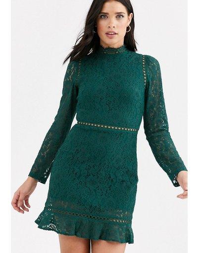 Verde donna Vestito accollato in pizzo con fondo a volant - Fashion Union - Verde