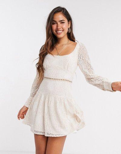 Crema donna Vestito corto in pizzo cipria - Fashion Union - Crema