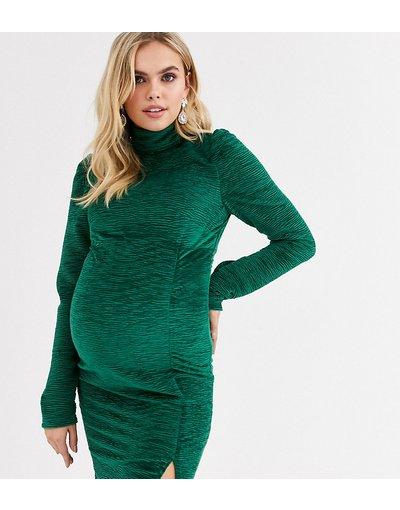 Verde donna Vestito premaman a fascia accollato in velluto verde - Fashion Union
