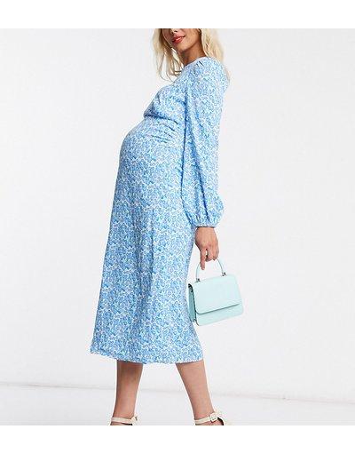 Blu donna Vestito premaman lungo con schiena scoperta e maniche a palloncino a fiori - Fashion Union - Blu