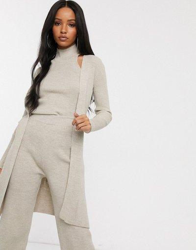 Crema donna Cardigan lungo in maglia color avena in coordinato - Fashionkilla - Crema