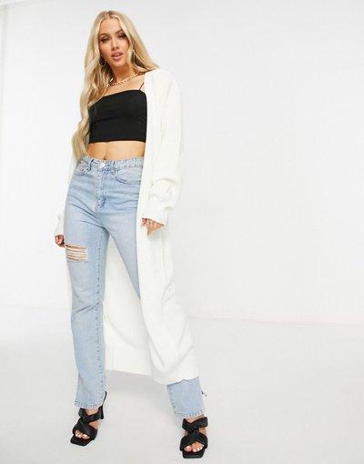 Maglione cardigan Crema donna Cardigan taglio lungo in maglia écru - Fashionkilla - Crema