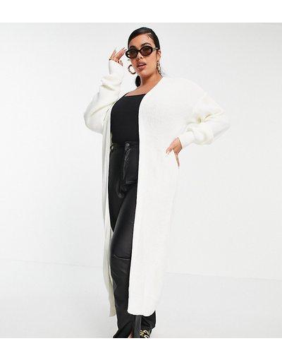Crema donna Cardigan taglio lungo in maglia écru - Fashionkilla Plus - Crema