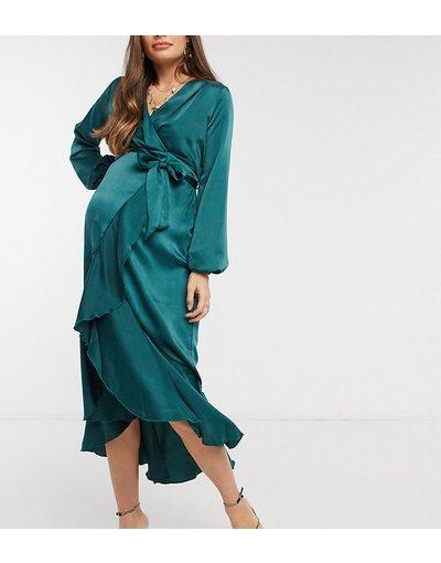Maternita Verde donna Vestito a portafoglio annodato con gonna al polpaccio e maniche lunghe verde smeraldo - Flounce London Maternity