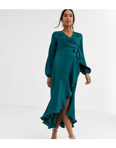Verde donna Vestito midi a portafoglio in raso verde bosco - Flounce London Maternity