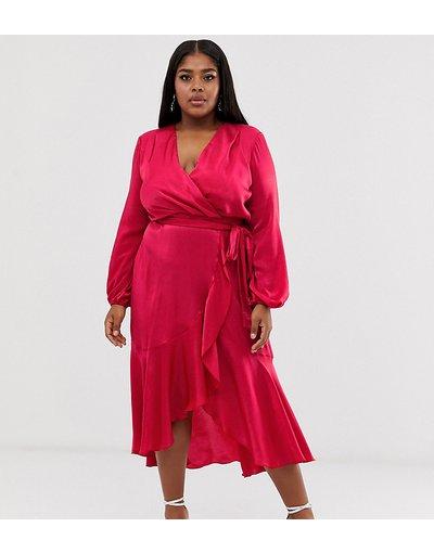 Arancione donna Vestito midi a portafoglio in raso rosa vivo - Flounce London Plus - Arancione