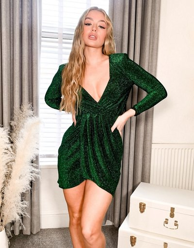 Verde donna Vestito corto a portafoglio in jersey verde brillantinato - Flounce London
