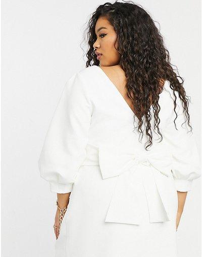 Bianco donna Vestito corto con fiocco sul retro color avorio - Forever New Curve - Bianco