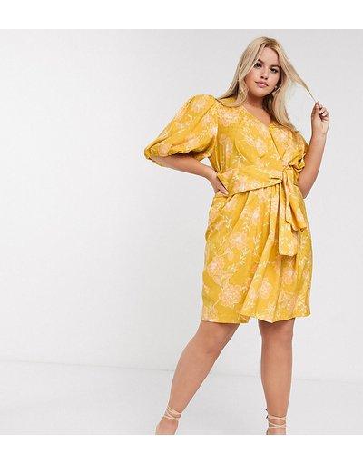 Giallo donna Vestito corto senape a fiori - Forever New Curve - Giallo