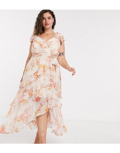 Arancione donna Vestito midi arancione a fiori - Forever New Curve