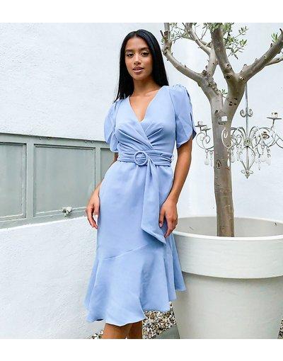 Blu donna Vestito con fondo asimmetrico e maniche a sbuffo blu - Forever New Petite