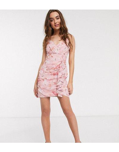 Rosa donna Vestito corto a portafoglio con spalline sottili rosa a fiori - Forever New Petite